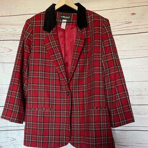 Vintage Sag Harbor Red Plaid Blazer Size 18W